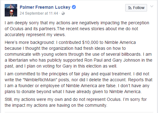 palmer luckey statement