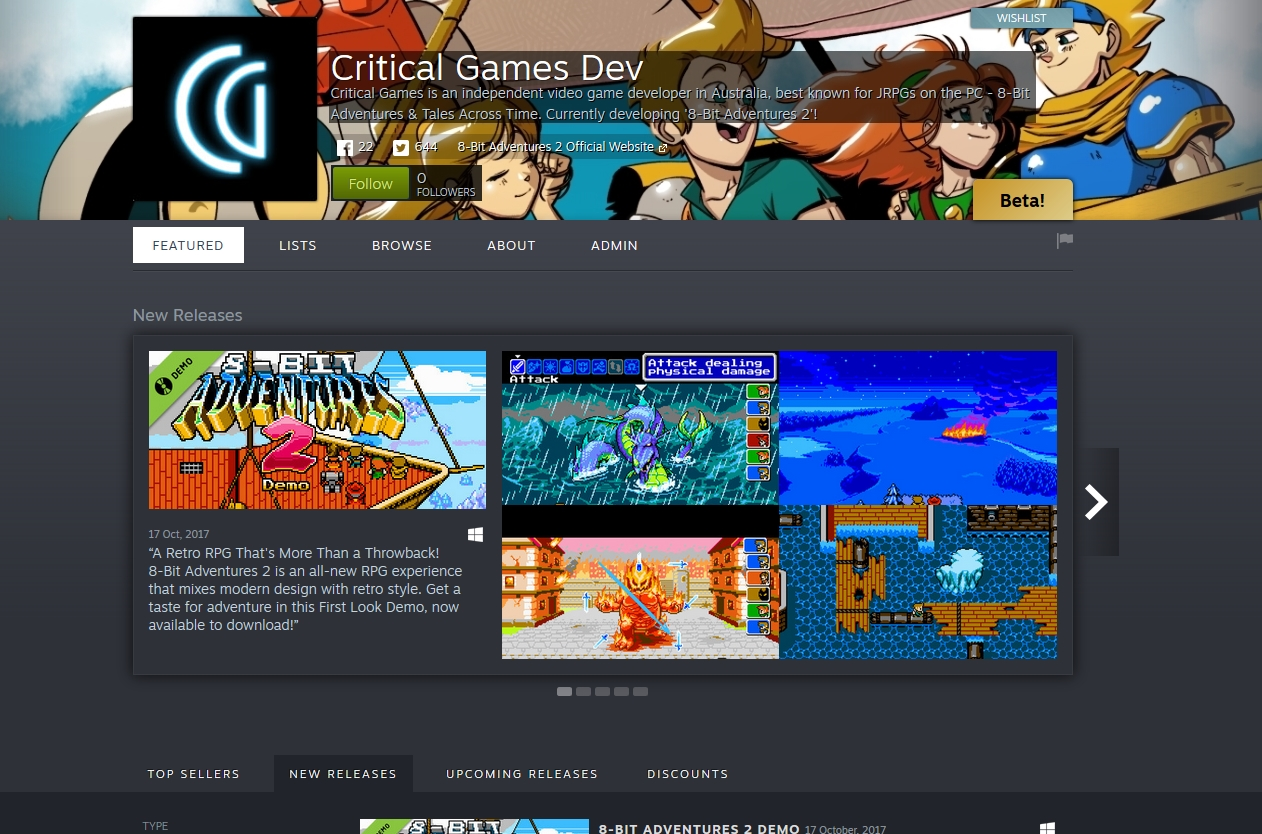 Steam Creator Page