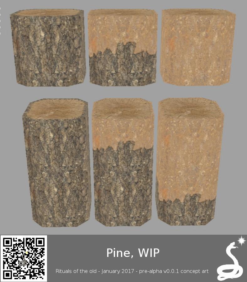 pine trunk blocks peeled