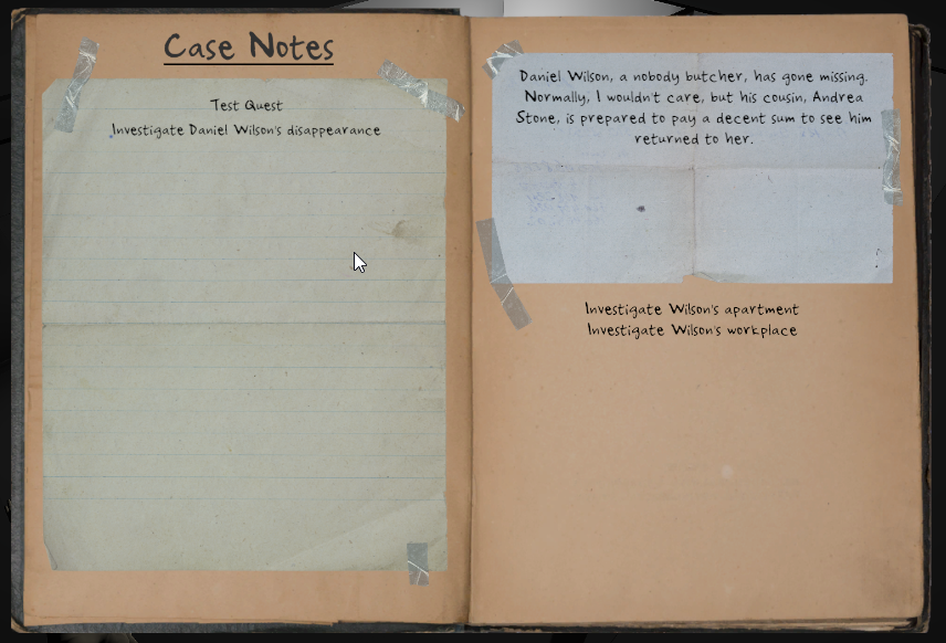The player's quest journal