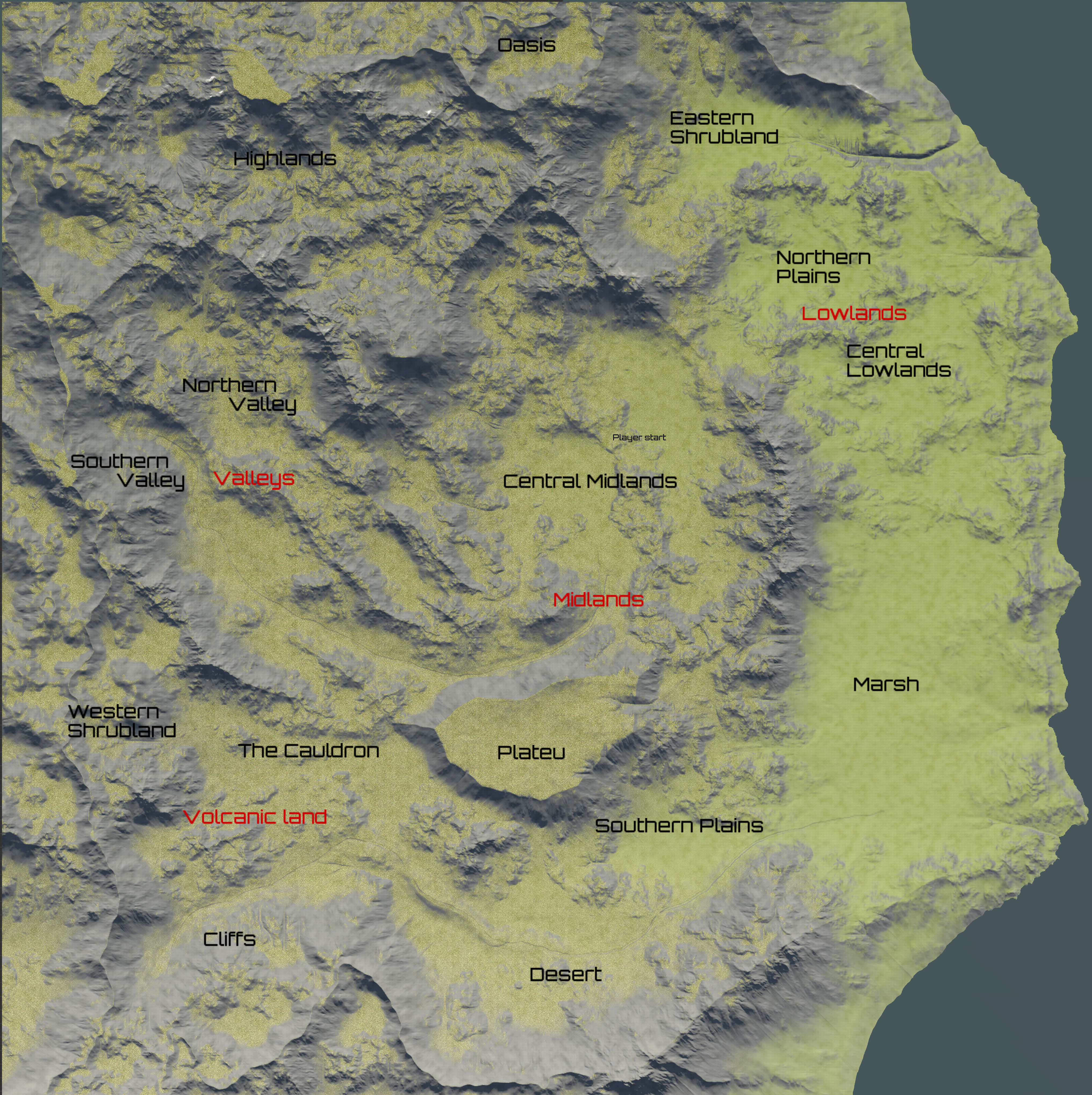 Map of the in-game world