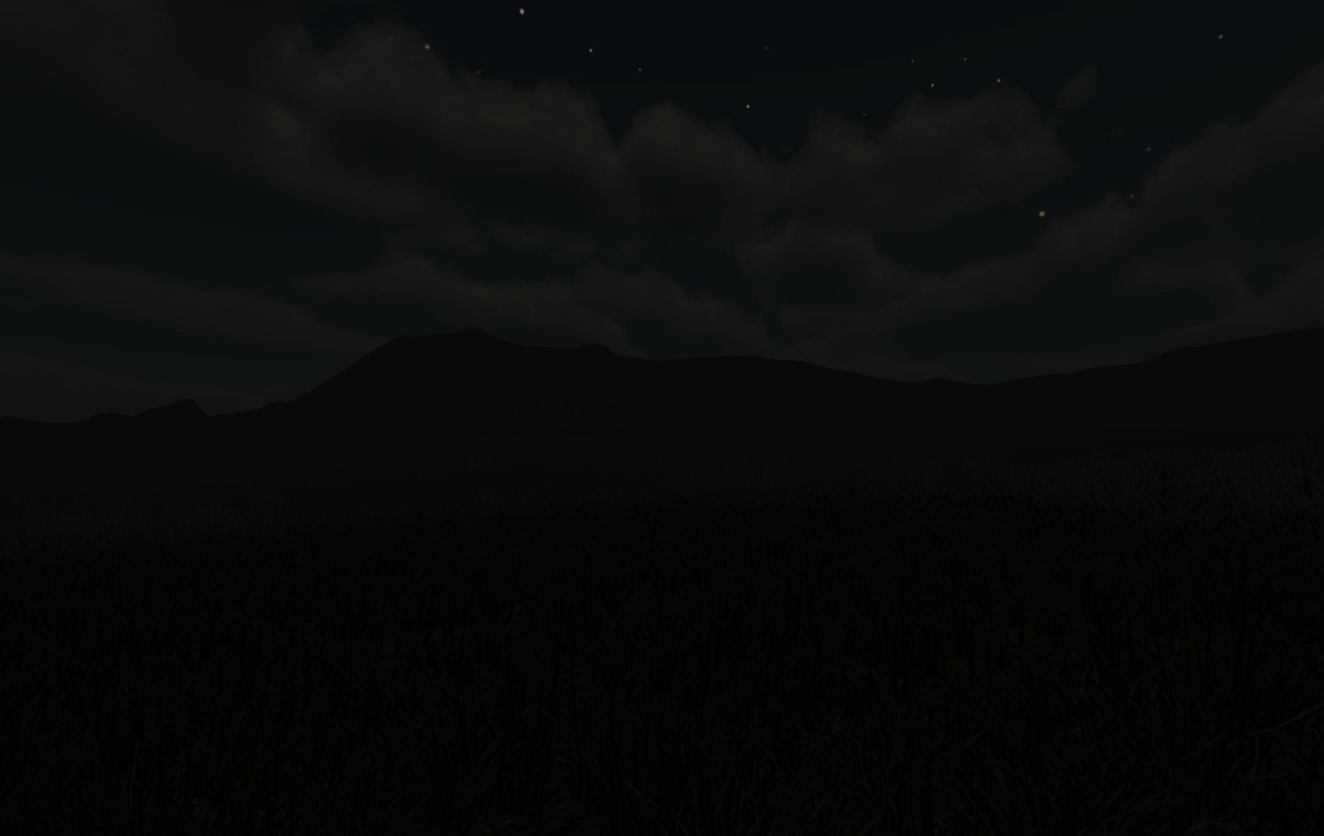 Night view of distant hills