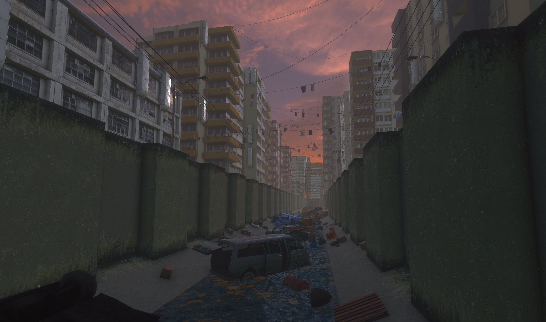 Evening sunset in the city level.