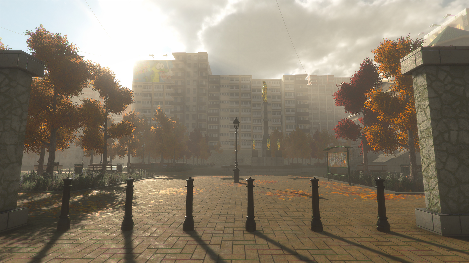 City level with volumetric lighting