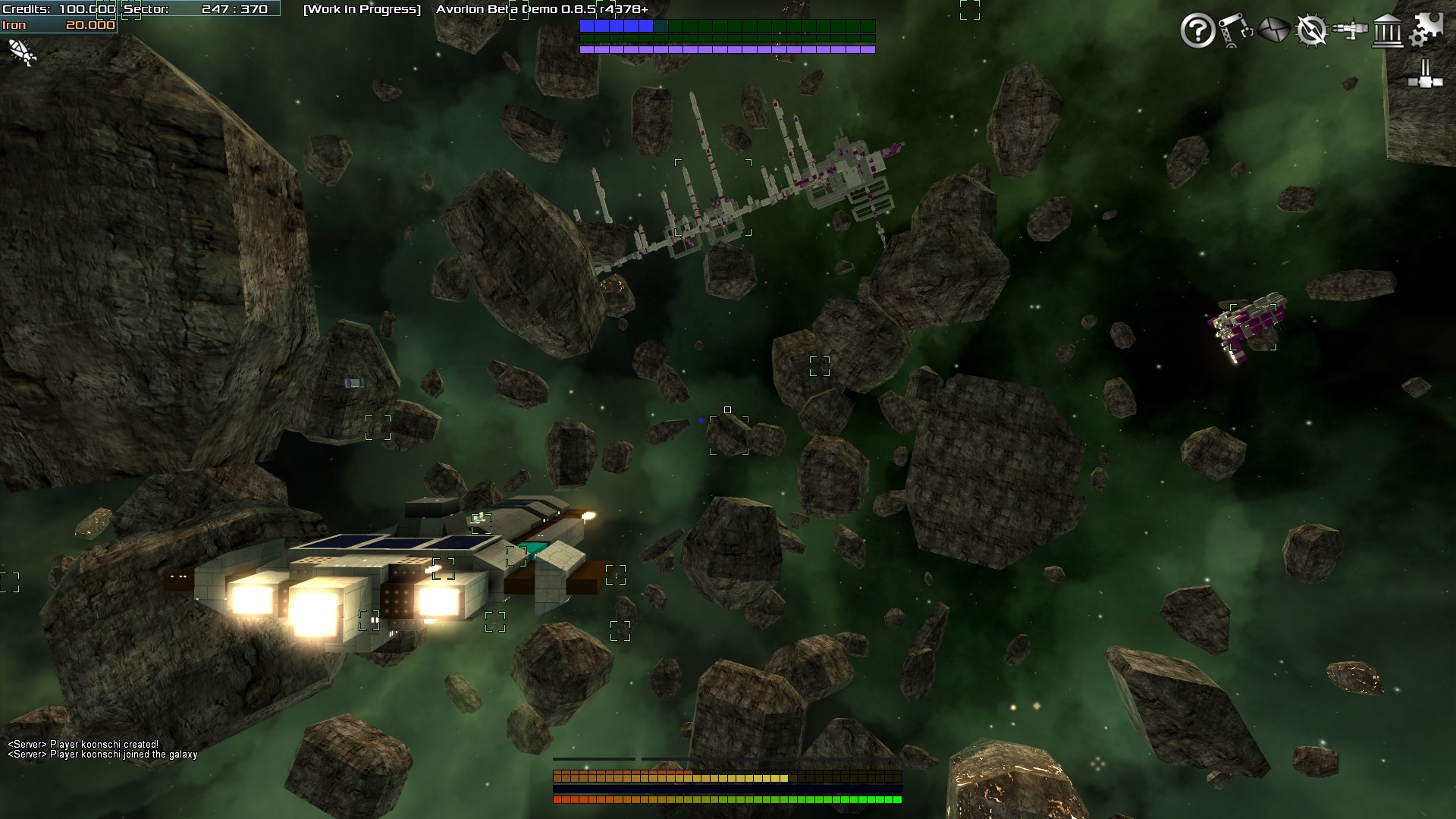 These asteroid fields are a common sight in Avorion and contain secret stashes of loot and valuable resources