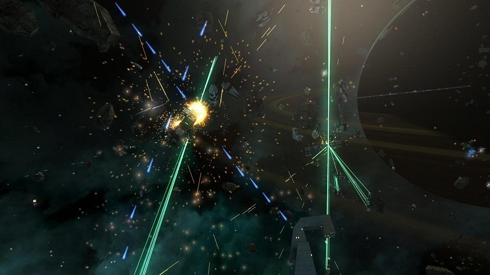 A chaotic battle between dozens of ships