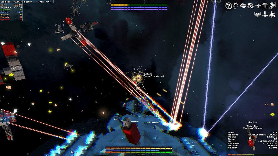 A fight between the player and several other ships