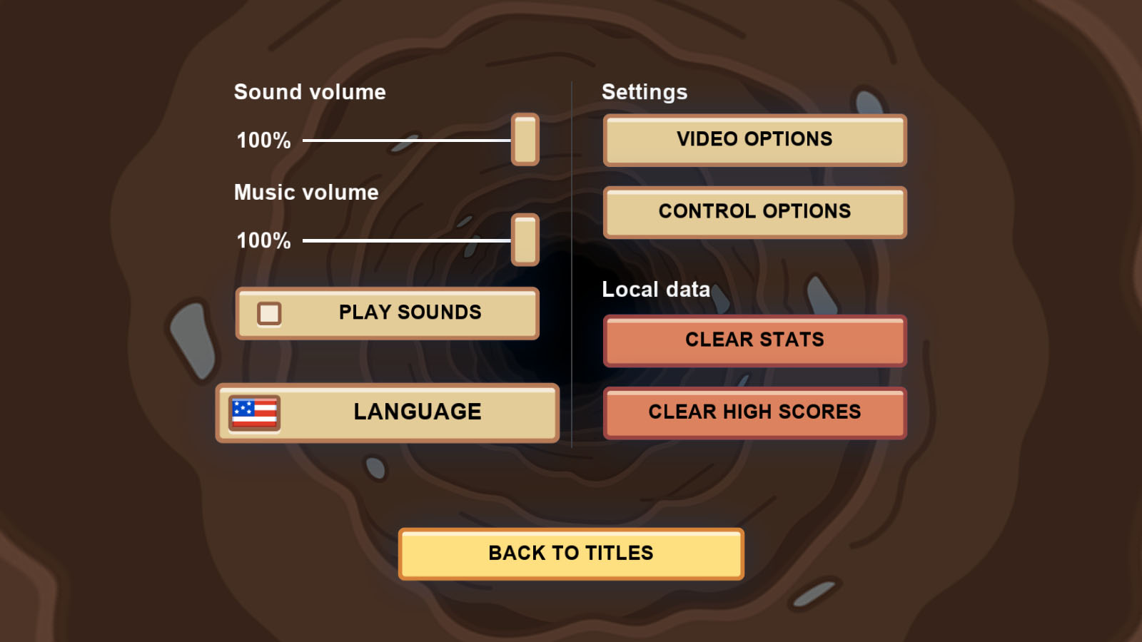Options menu, with new language button