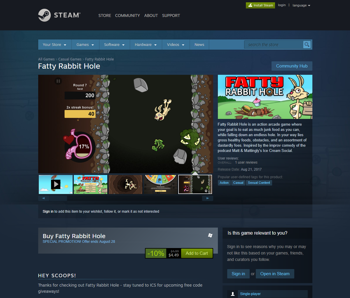 fatty rabbit hole steam store page