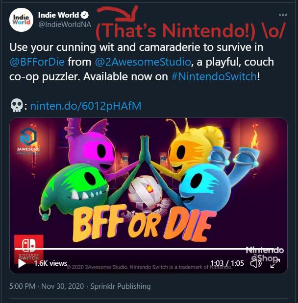 BFF or Die on Nintendo