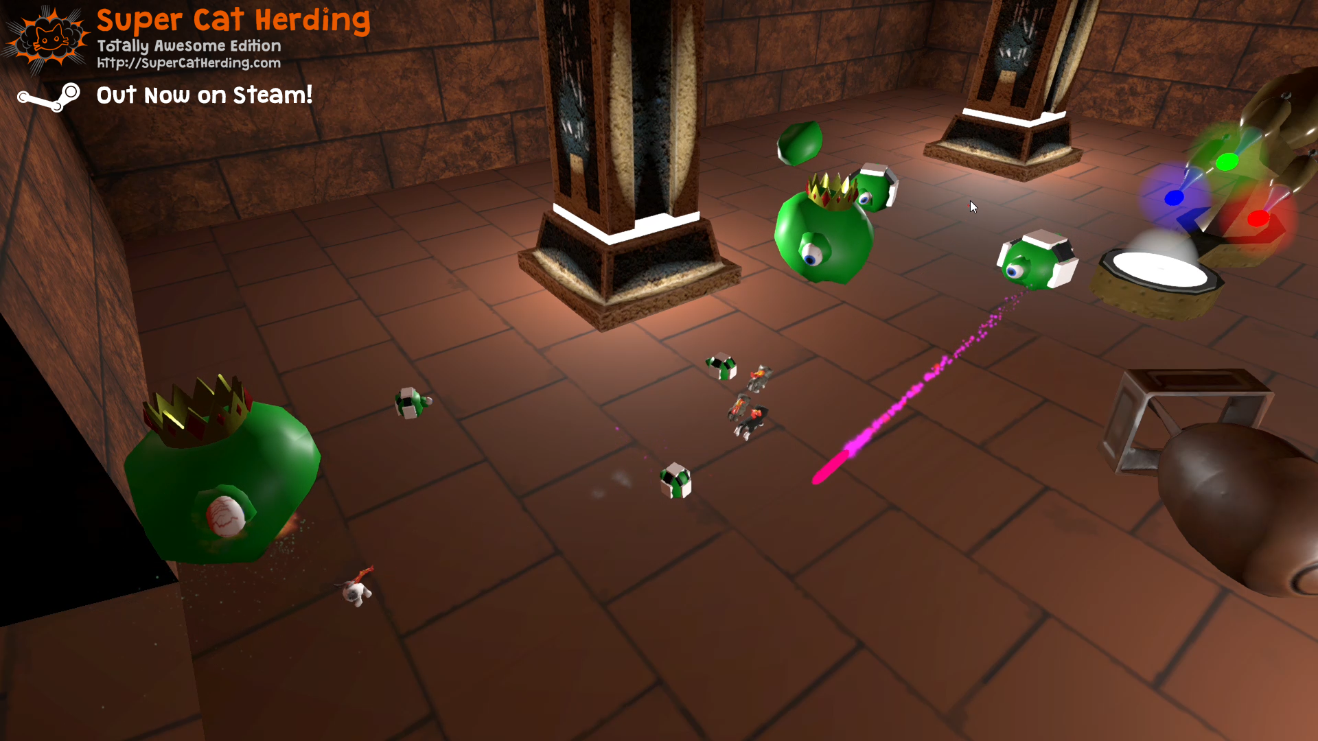 Fighting Goo Enemies in the New Cydonia Level - Super Cat Herding: Totally Awesome Edition