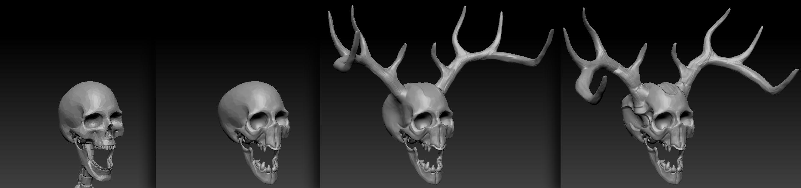 Progress on the Banshee's skull, from left to right