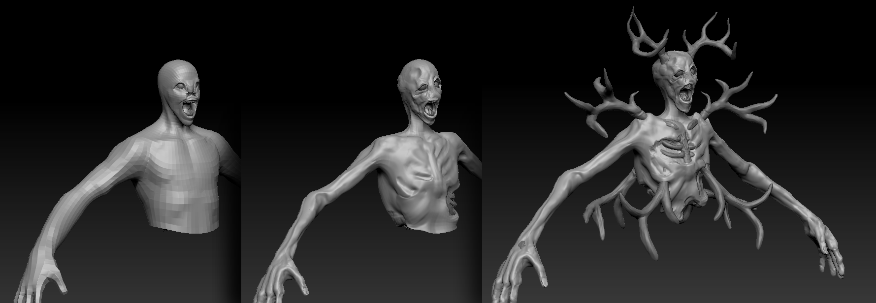 Iteration on the Banshee sculpt from start (left) to end (right)