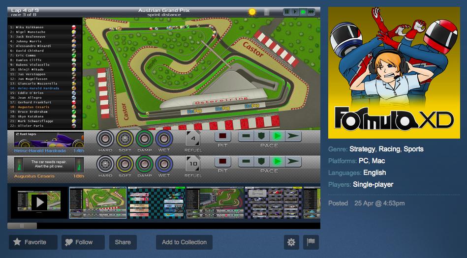 Formula XD on Steam Greenlight