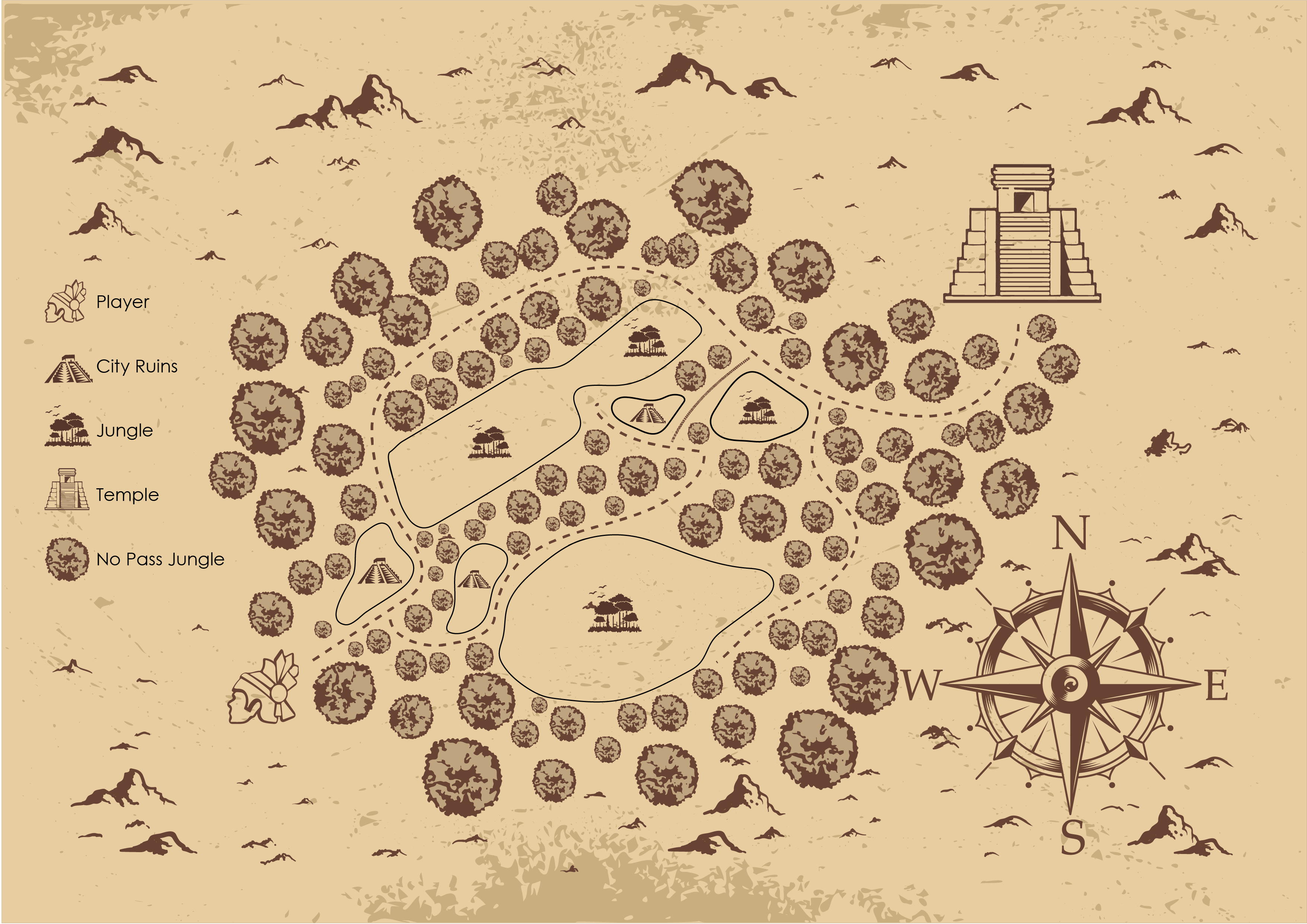 Mockup of the path the Warrior will take to reach their ultimate destination