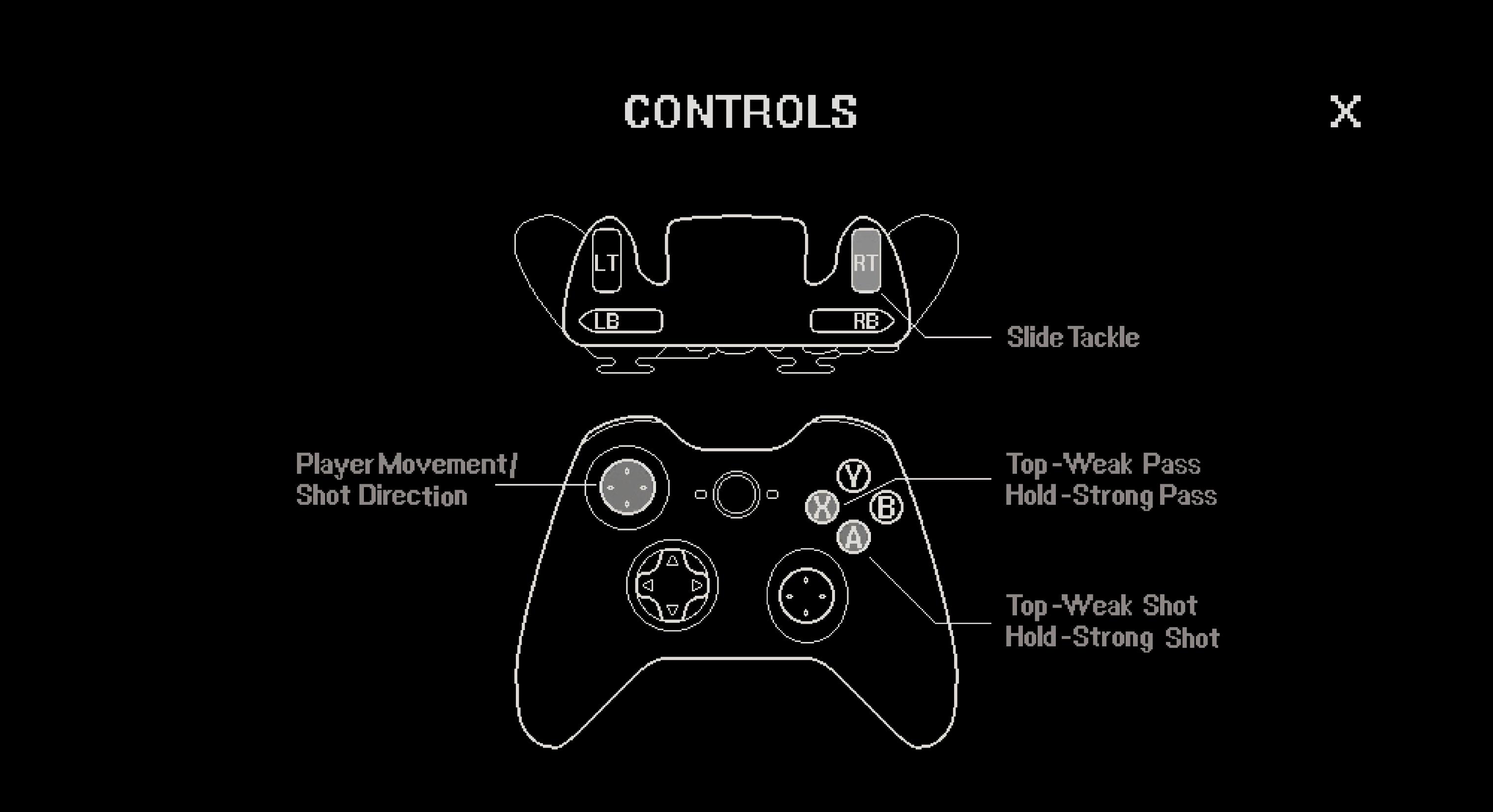 Gamepad controls screen
