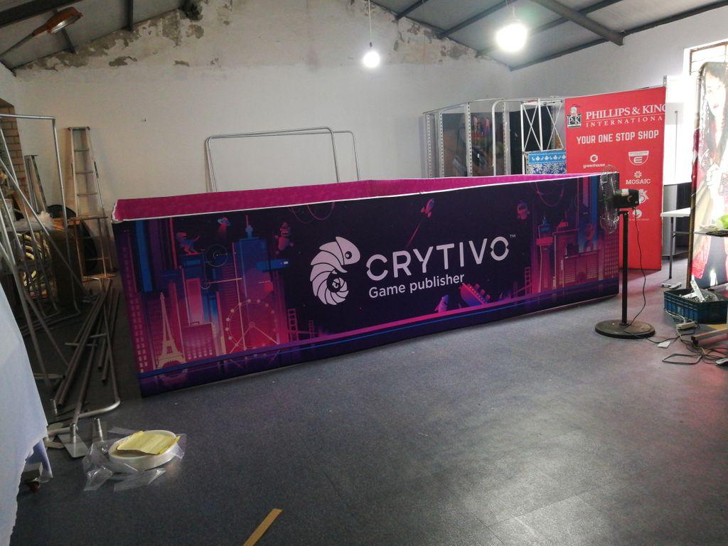 Crytivo booth at PAX showcasing Football Story