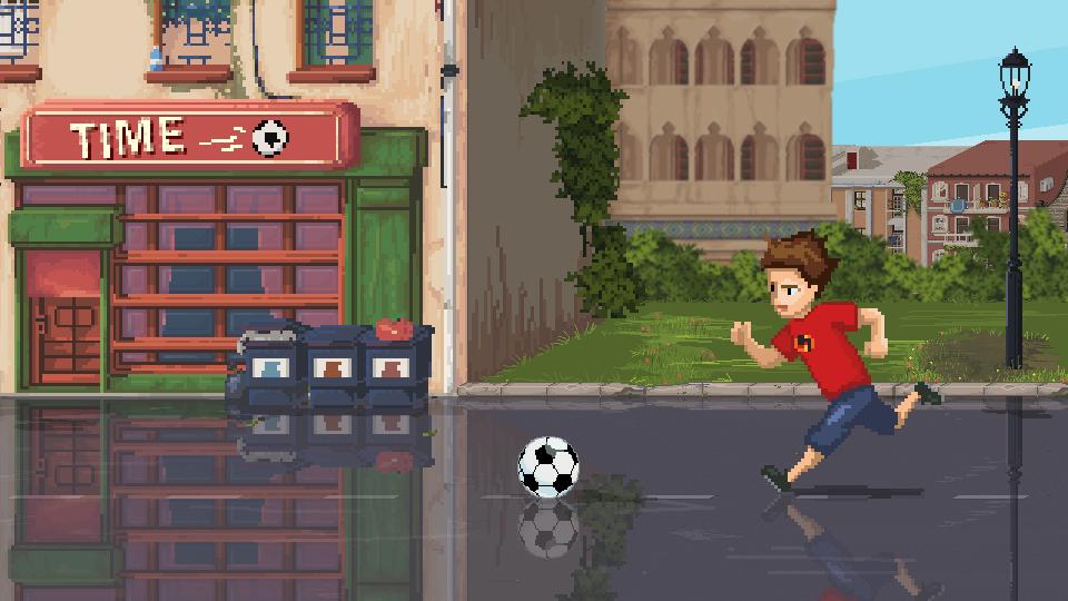 Boy running after the ball