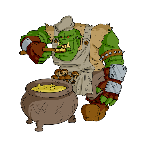 Sharptoof - an ork with a surprising taste for mushrooms