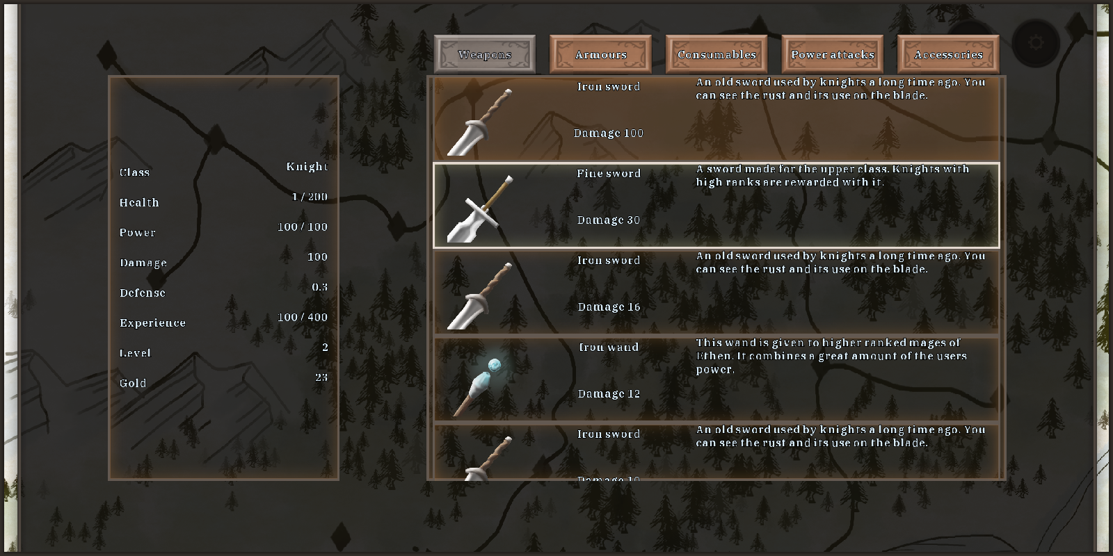progress 15 - inventory weapons
