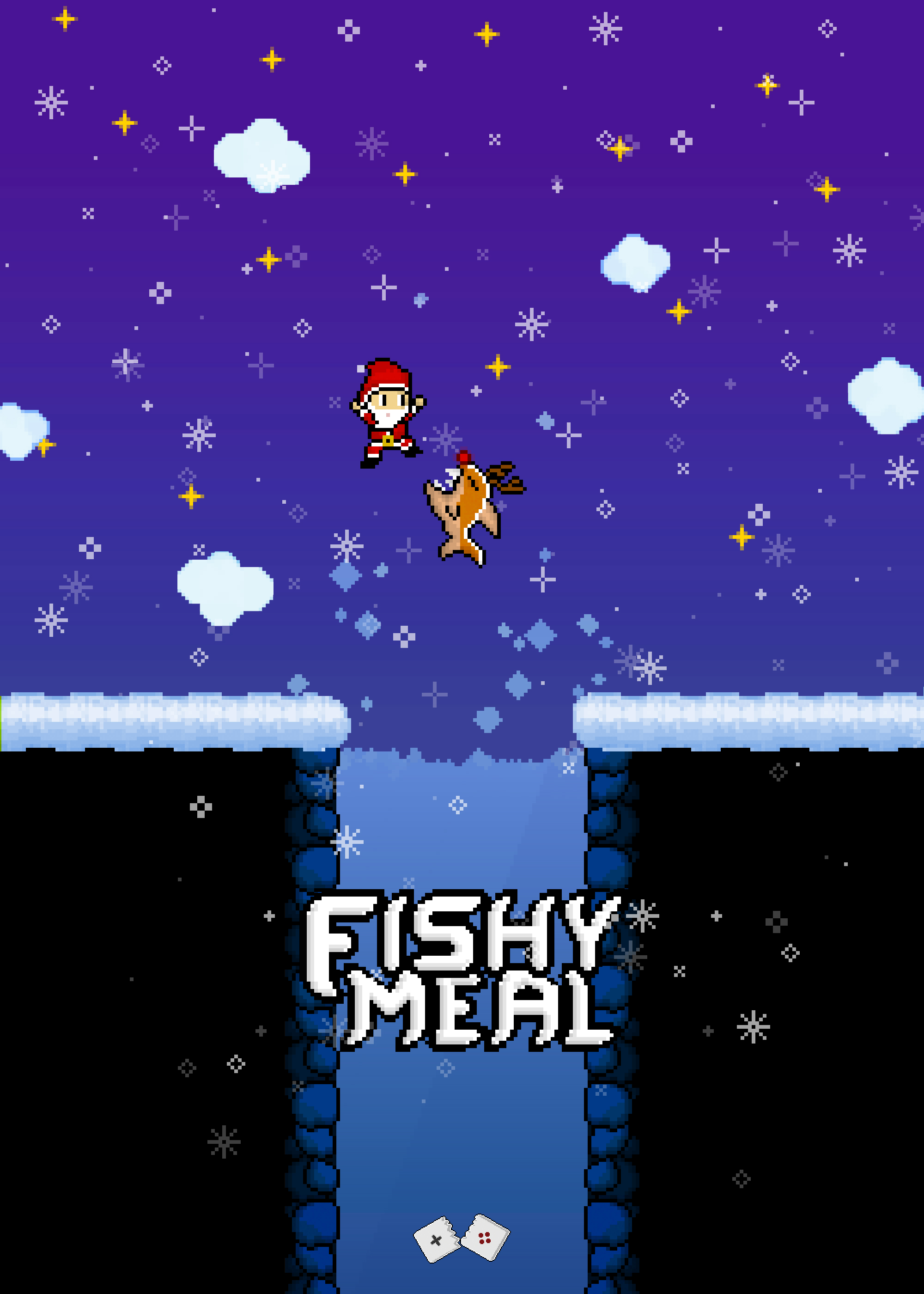 Piranha Rudolph and Santa in Fishy Meal greeting card