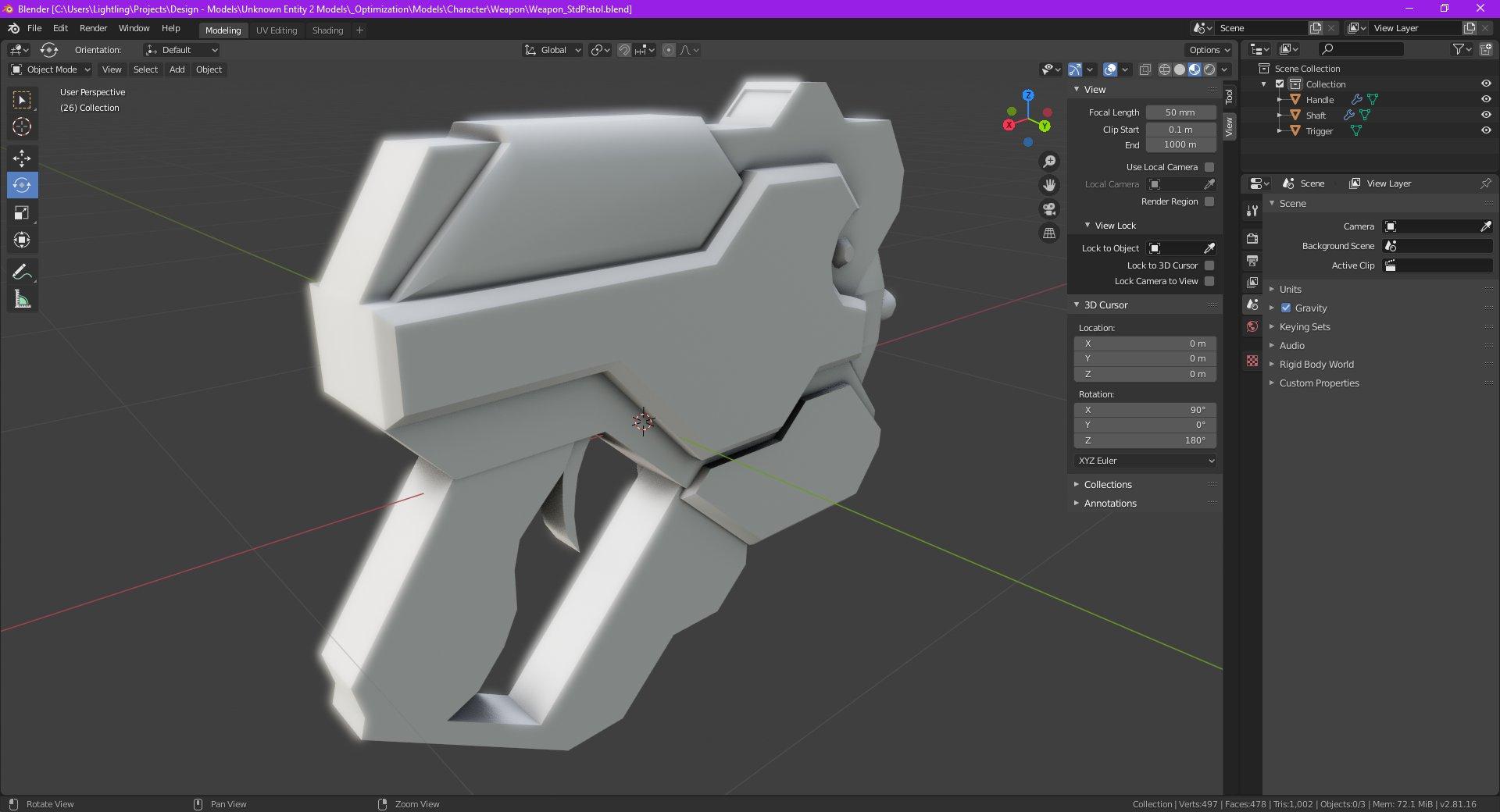 Render of new pistol model