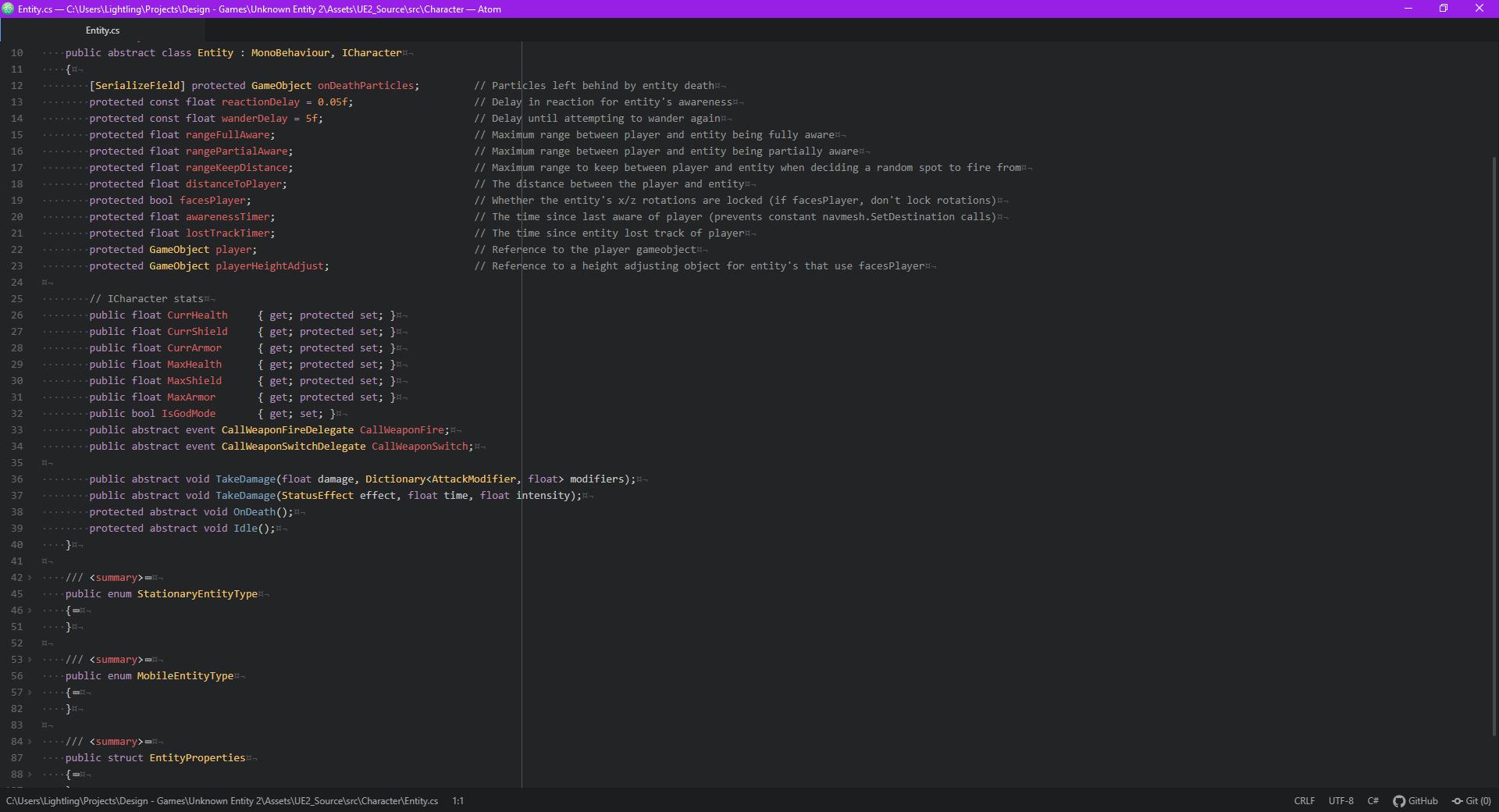 Screenshot of the new Entity code setup