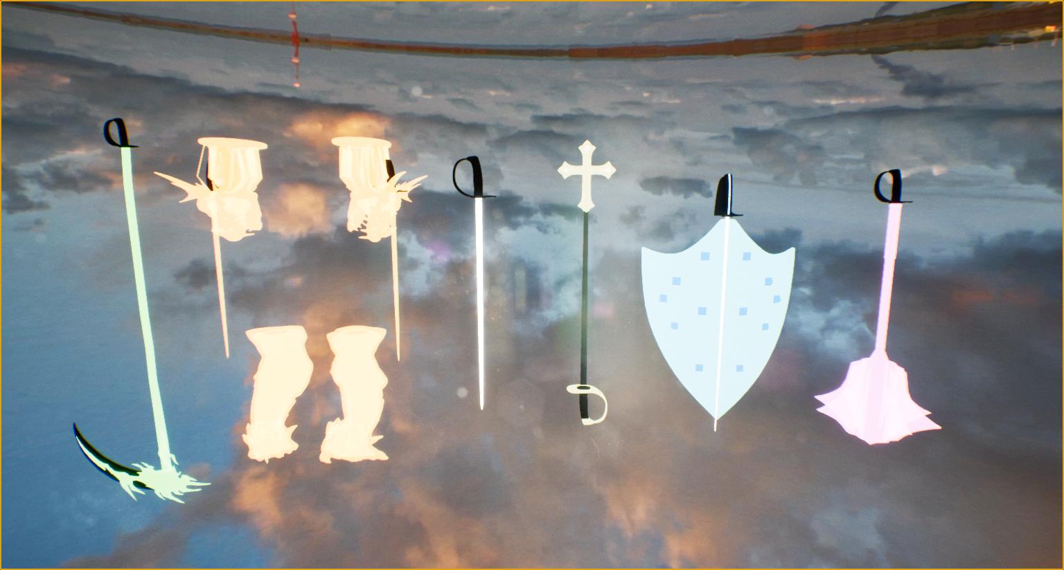 From left to right: Snakebite, Tarasque, Babylon Sword, Babylon Staff, Babylon Shield and Vedas.