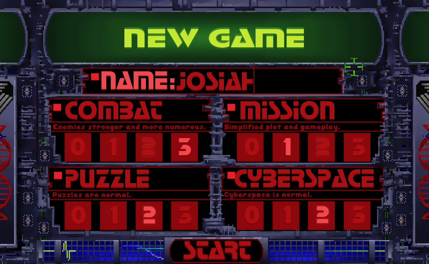 Difficulty setting screen.  Note: Font to be updated to my modified StopD font to match original game better.