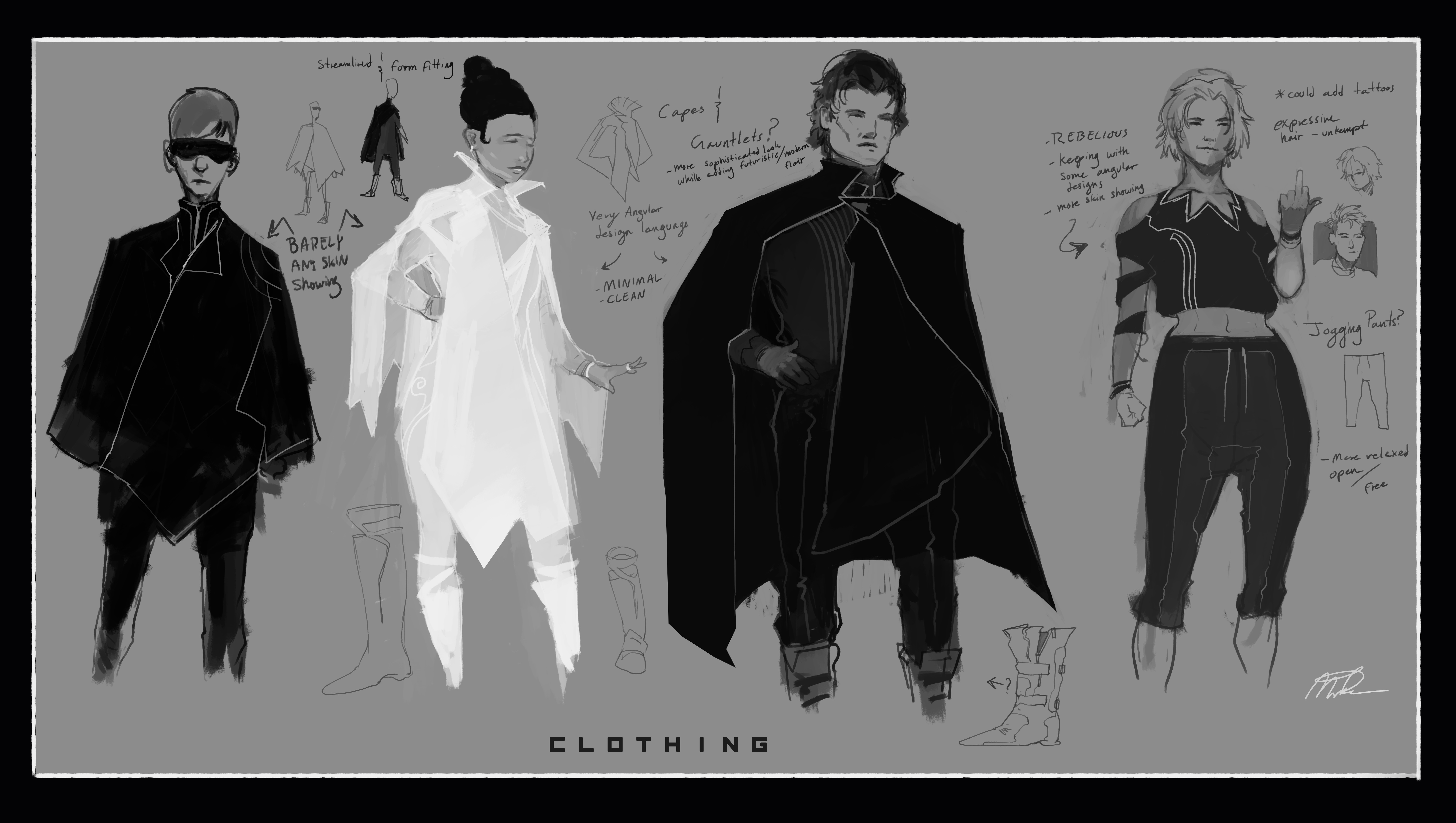 Clothing Aesthetic sketches for the rebels.