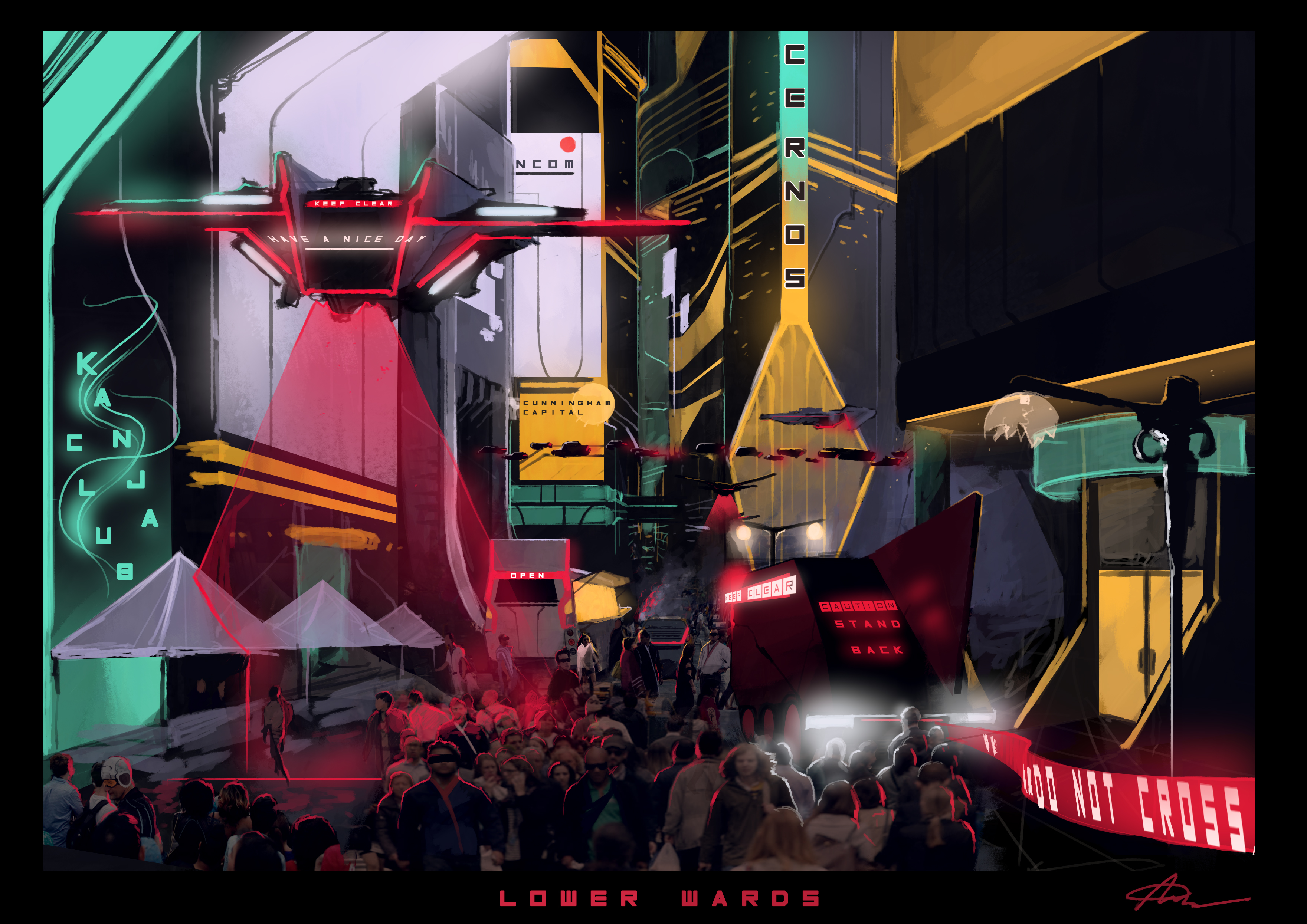Concept Art for The City's middle level.