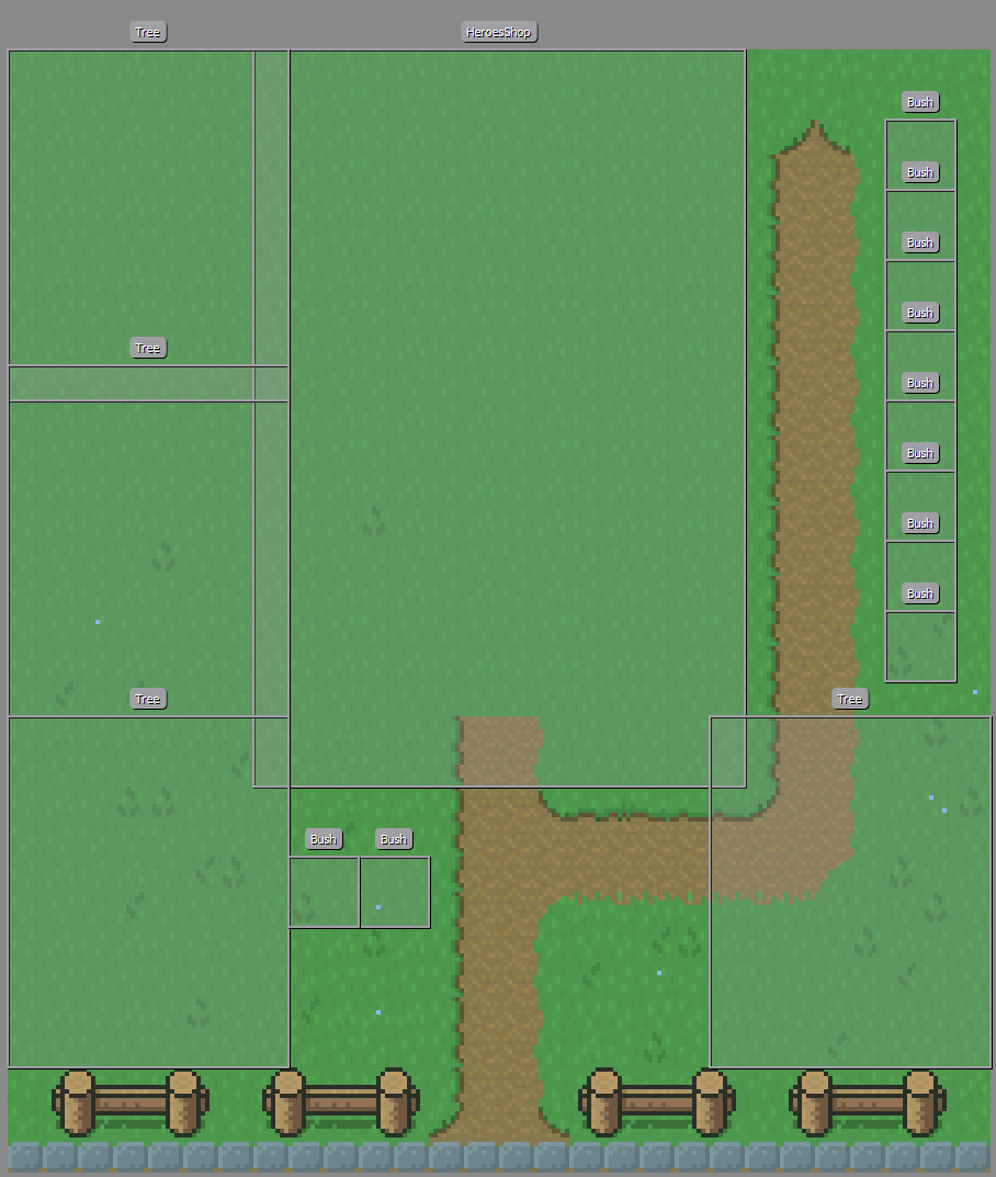 Screenshot of Tiled Map Editor showing the Lot for the Heroes Shop