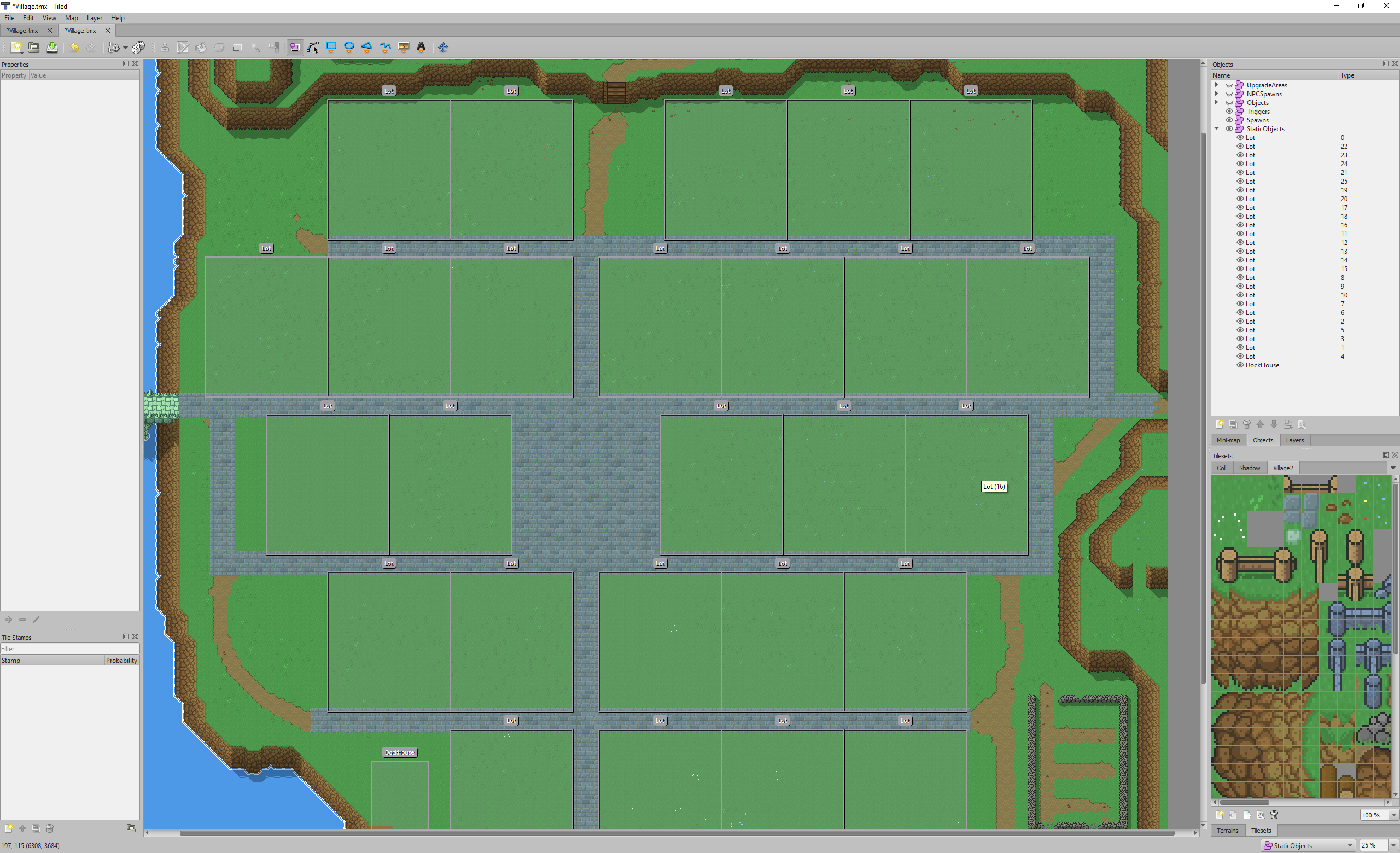Screenshot of Tiled Map Editor showing the new version with lot objects