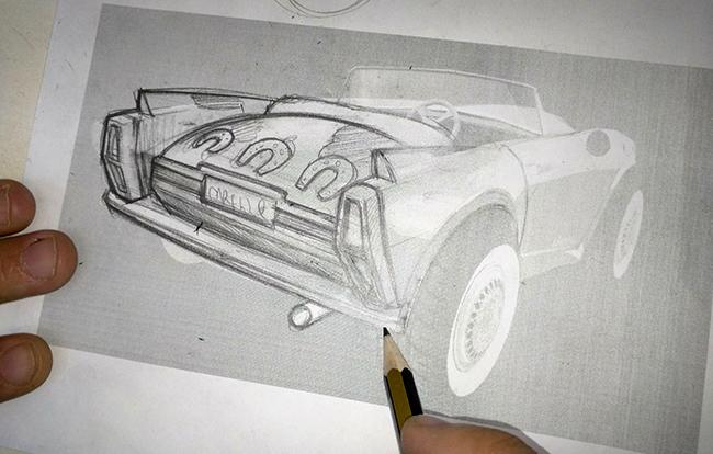 drawing car sketch using templat