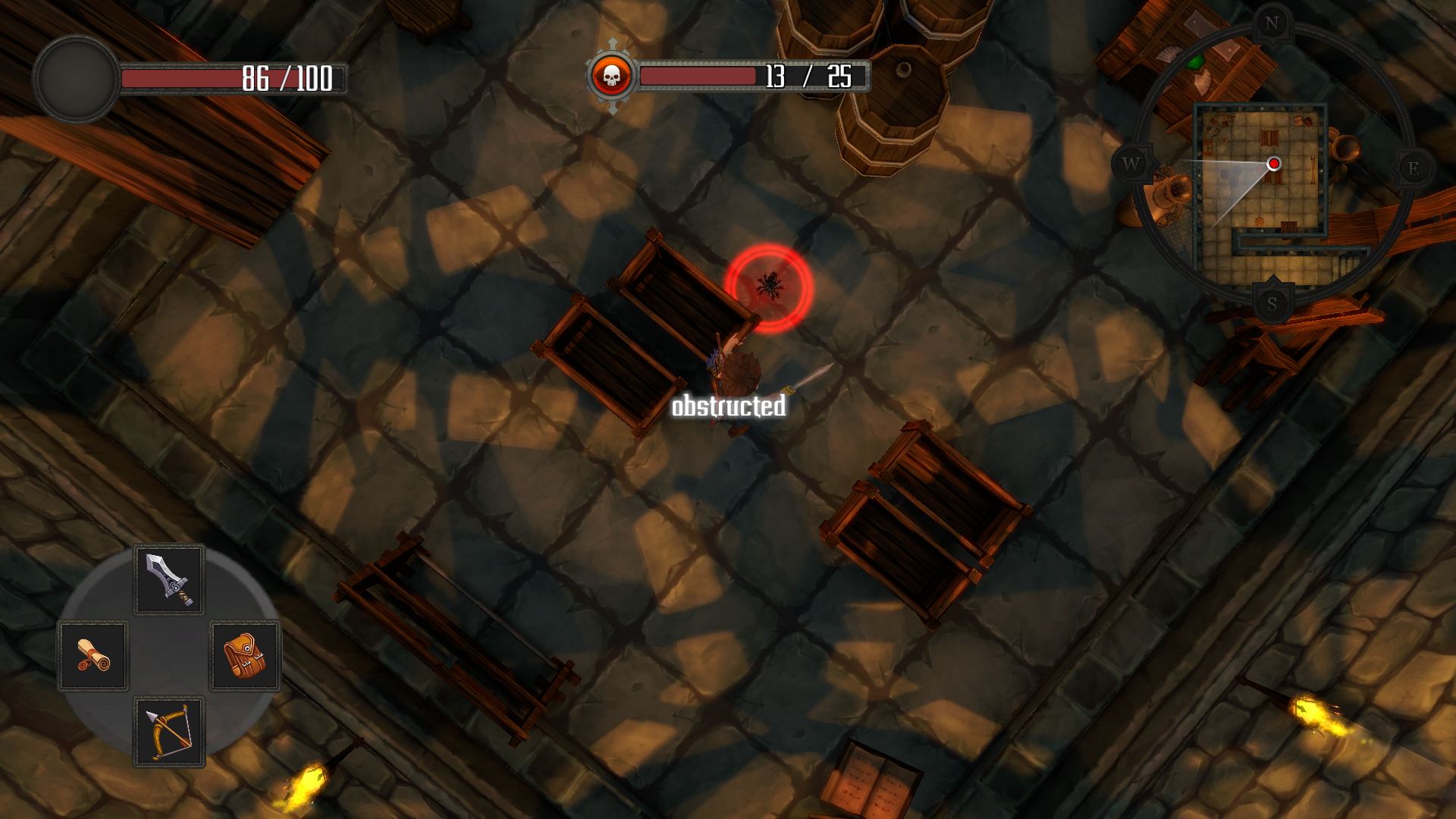 melee attack obstructed