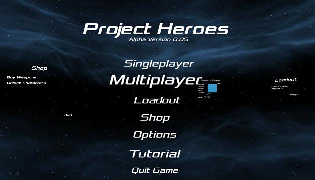 Project Heroes early menu screenshot
