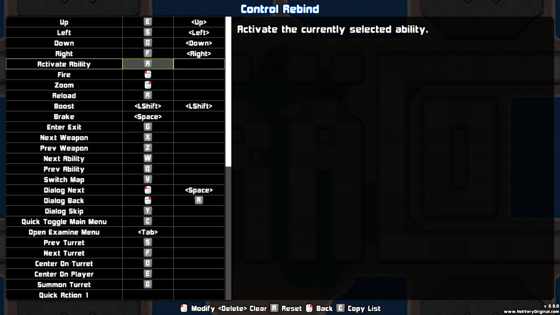 Control Rebind Screen