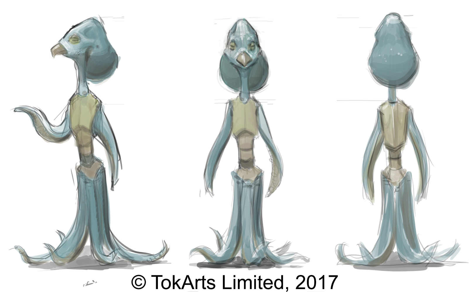 a turn-around of a Daran creature, naked