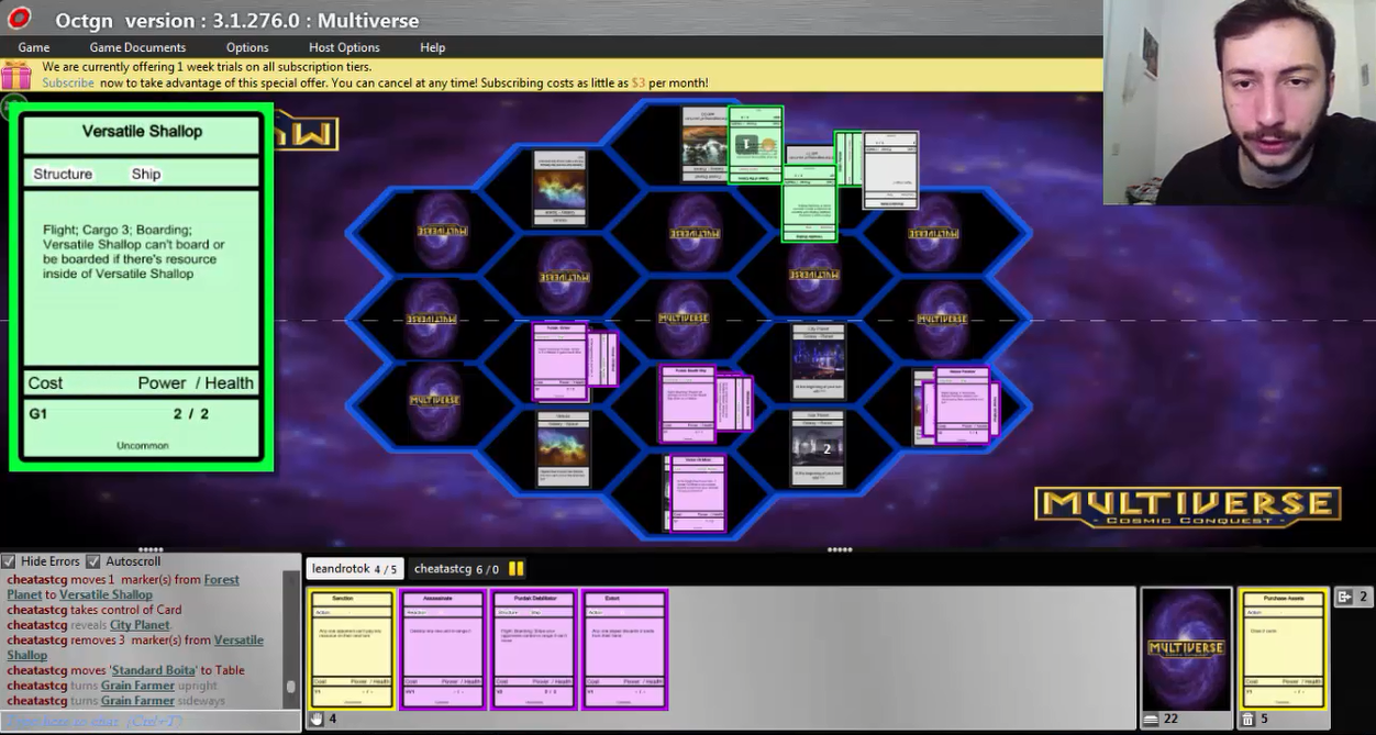 This is a screenshot from the very first Multiverse tournament we've ever conducted, on the 4th of December 2016 on OCTGN