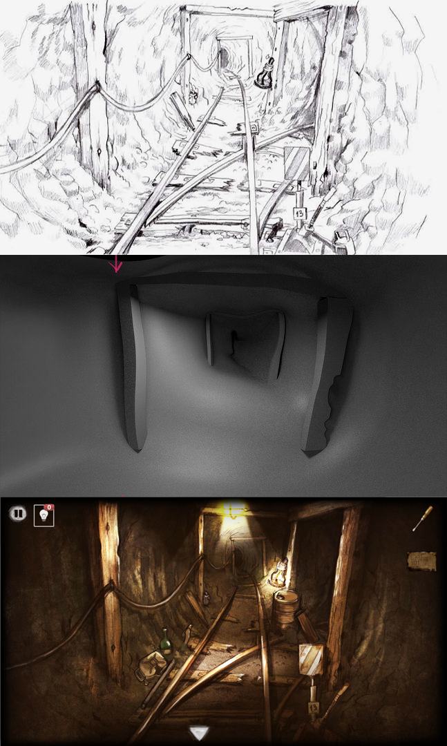 Abandoned mine room escape behind the screen tutorial for 101 room escape 4
