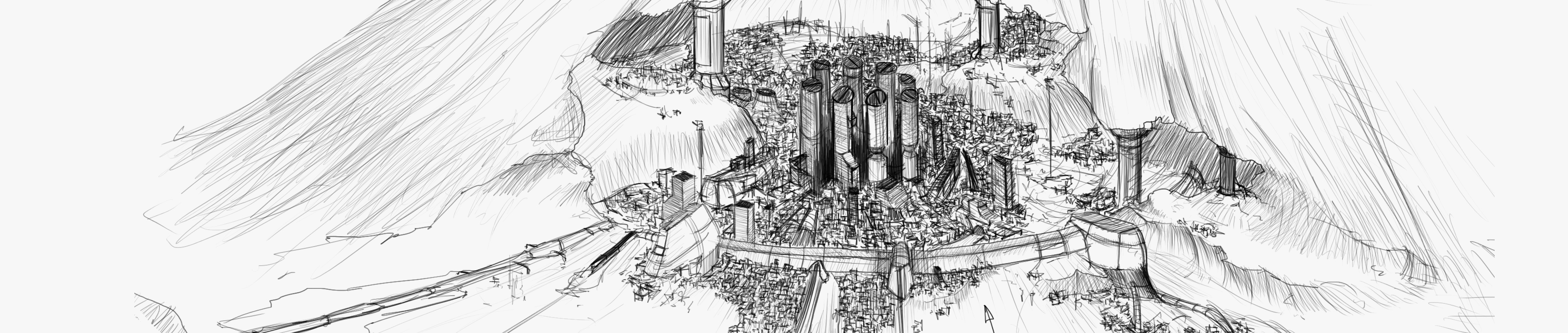 (Concept art of Verdamm City, the game's main setting)