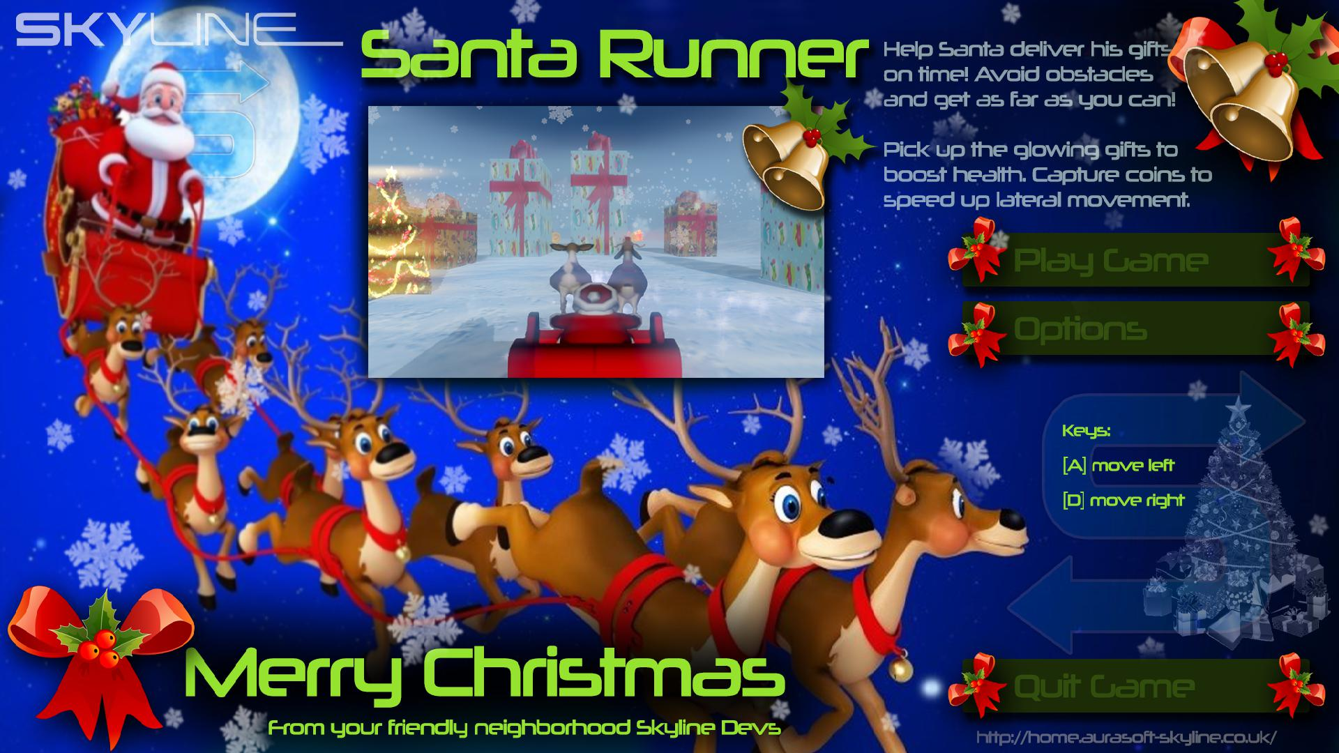 Xmas Runner start Screen