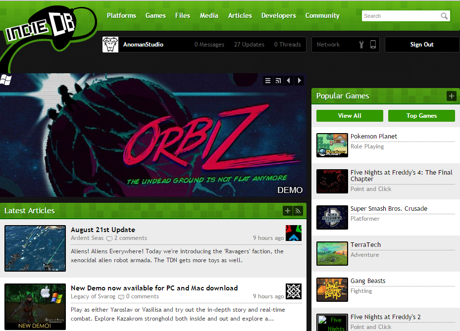 orbiz featured indiedb