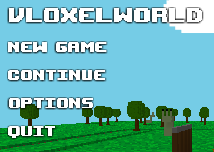 Vloxelworld main menu