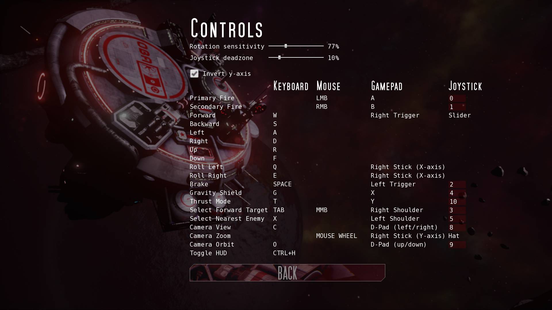Controls-menu with joystick-mappings