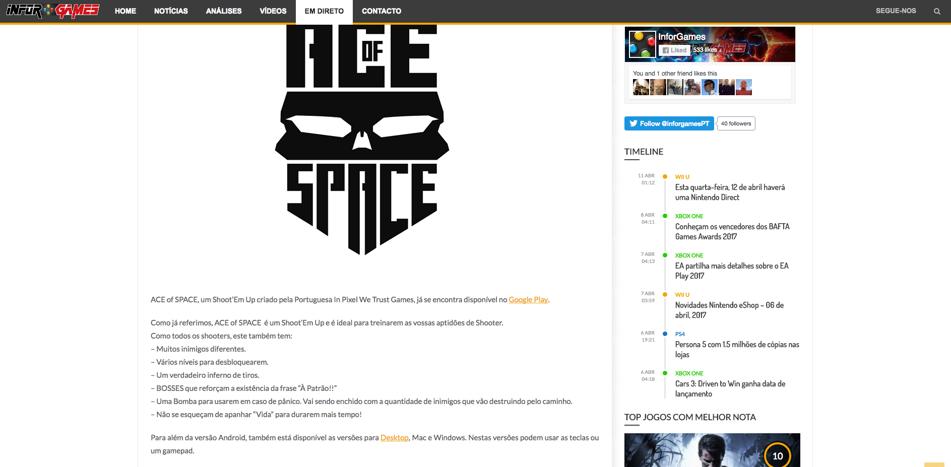 Review of ACE of SPACE