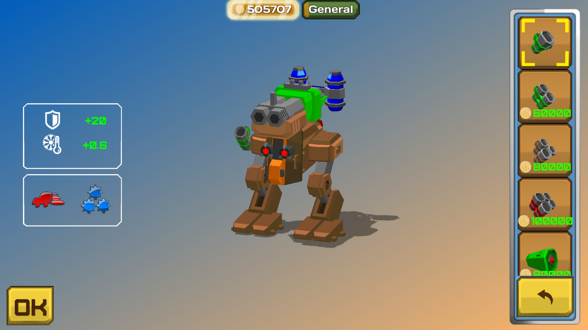 Bipedal mech with frontal armor