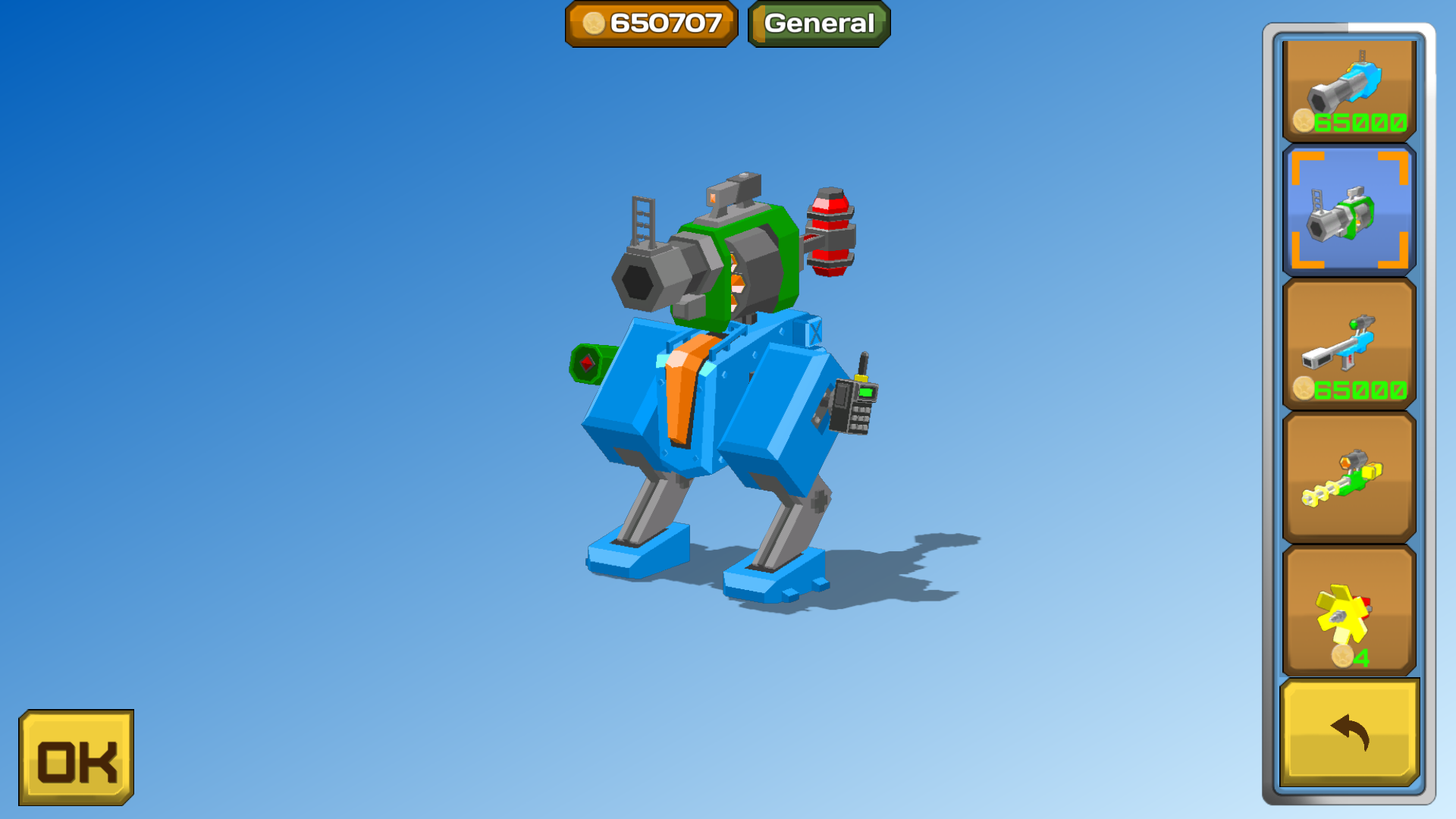 Bipedal mech with automatic grenade launcher