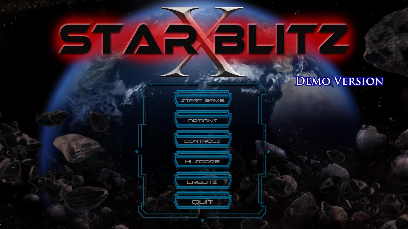 Main menu for the game called Star Blitz X