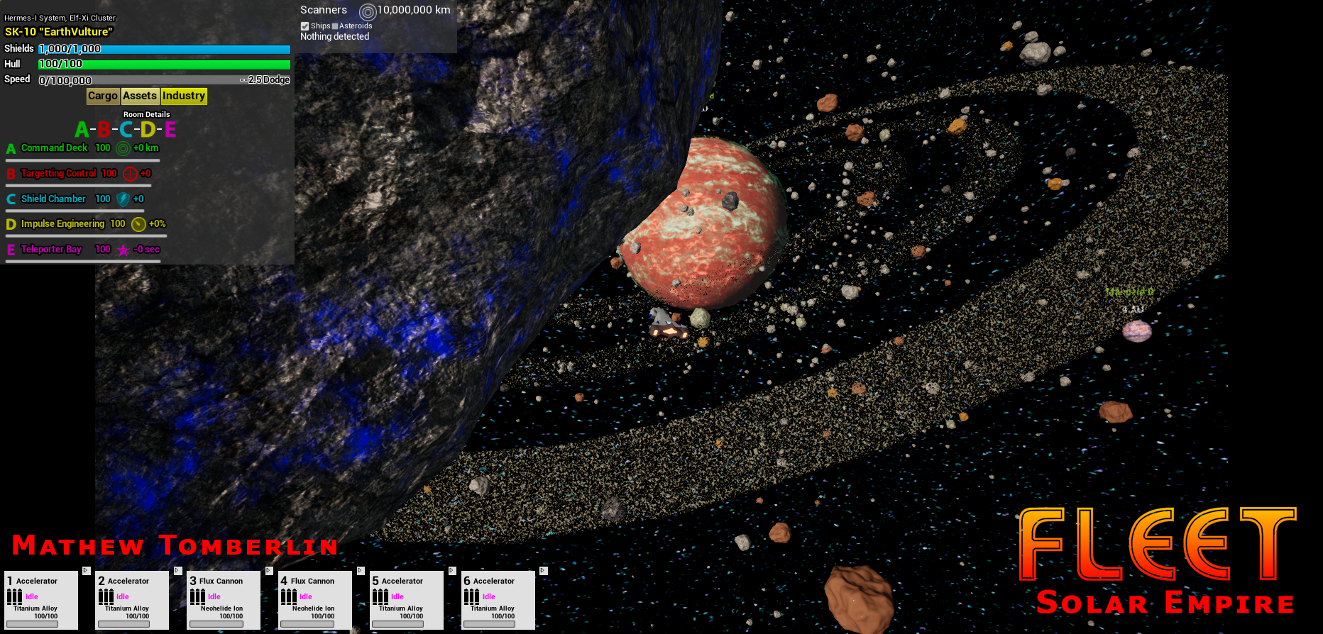 Star Knight near a C-Type asteroid orbitting a planet